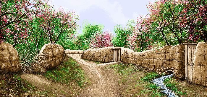 منظره بهاری کوچه روستا