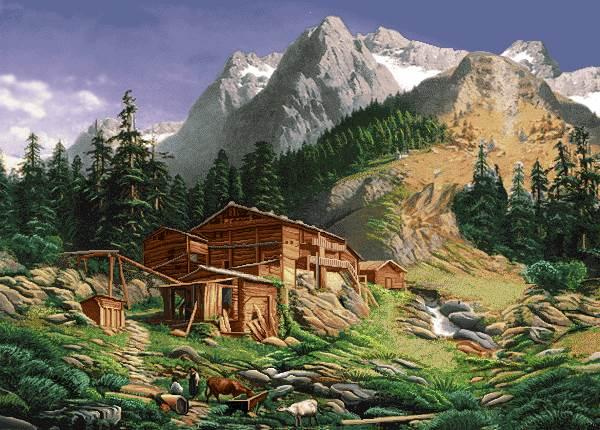 خانه چوبی در دامنه کوه