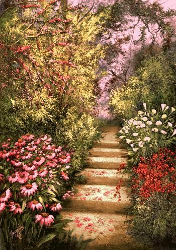 پله در میان گلها