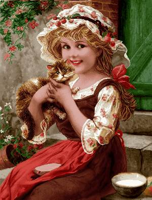 دختر بچه معصوم با گربه