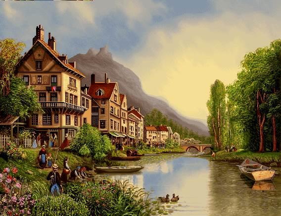 منظره رود کنار خانه ها