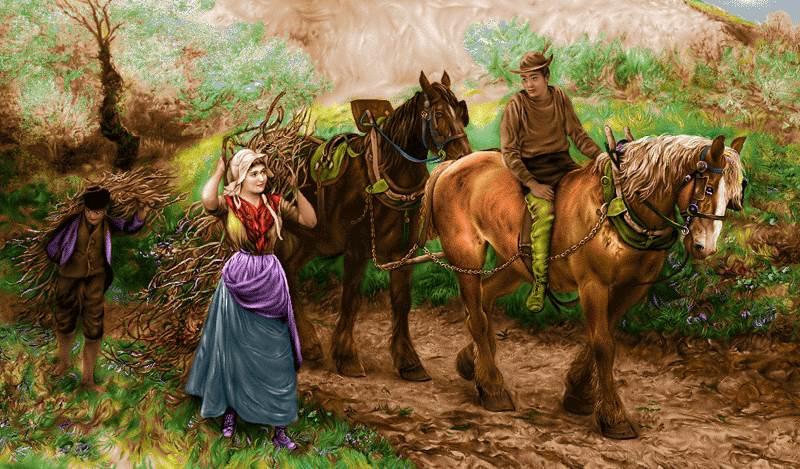 جمع آوری هیزم با اسب