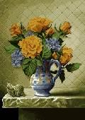 گلدان گل روی تاقچه