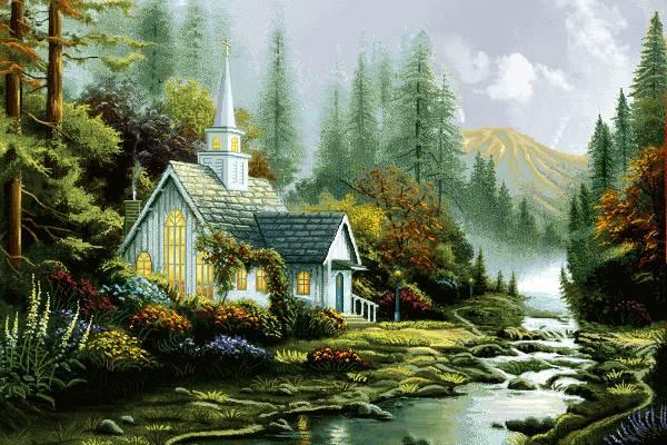 منظره کلبه و رود زیبا