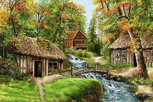 منظره رود در جنگل