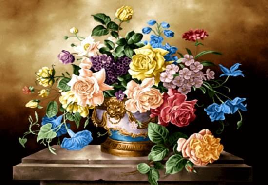 گلدان گل های رز رنگارنگ