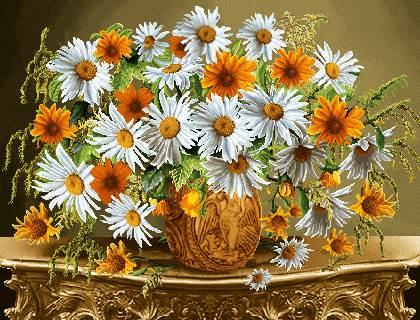 گلدان گلهای بابونه
