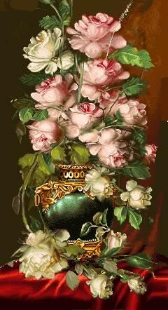 گلدان گل رز سفید صورتی