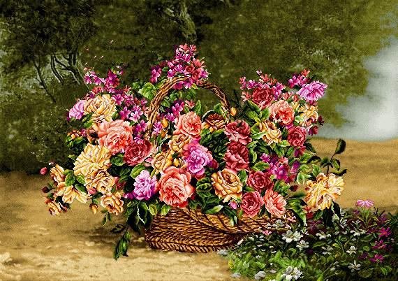سبد گلهای رز