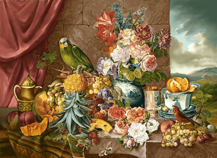 میز پر از گل و میوه