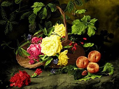 سبد گل در کنار میوه