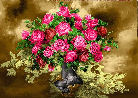 گلدان گل رز صورتی