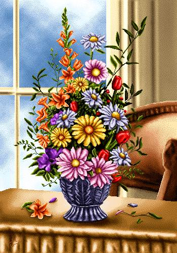 گلدان کنار پنجره