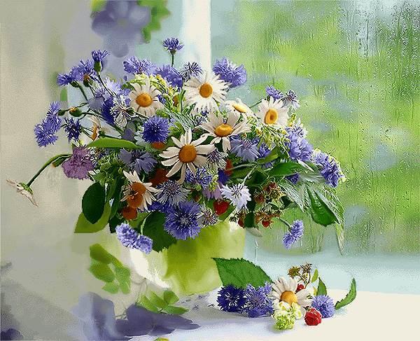 گلدان کنار پنجره بارانی