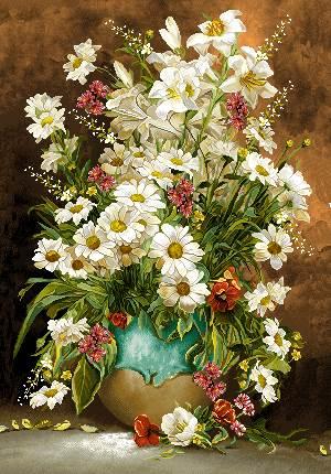 گلدان گل سفید