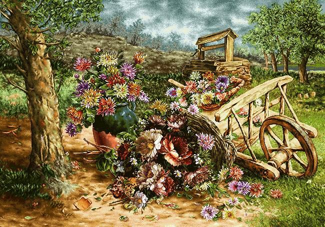 گاری چوبی پر از گل