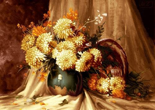 گلدان گل و پرده سفید