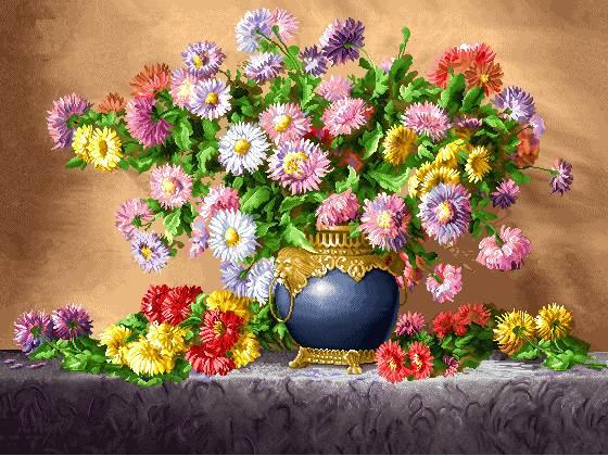 گلدان با گلهای رنگارنگ