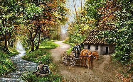 خانه جنگلی و رود