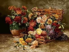 سبد حصیری گلها