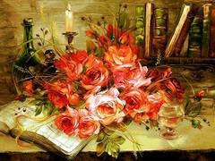دسته گل روی میز
